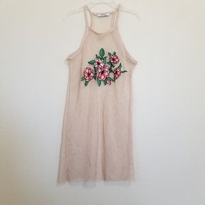 Zara Trafaluc Floral Embroidered Fishnet Top S